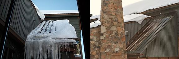 Before photo: Ice dams and very large icicles always developed on this problematic area on a metal roof at 11,000 feet elevation. Icicles so large they would break off and fall back and break restaurant windows. After photo: All ice dams and icicles have been eliminated as a result of a HotEdge Roof Ice Prevention System. It is easy to see how HotEdge and HotSeam can work together to eliminate problems.