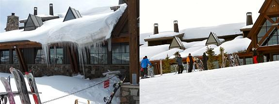 Before photo: Ice Dam and Icicles at the Aspen Sundeck at 11,000 foot elevation were extremely large and were a safety risk and property damage resulted (see Design Spaces television segment). After photo: The results of the HotEdge Roof Ice Melt System at this extreme winter location have been dramatic. Icicles have been minimized and ice dams do not exist, hence, safety risks are reduced and property risks have been prevented.