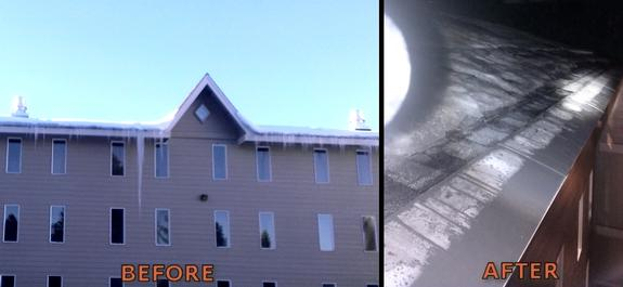 "This condominium complex had a major liability exposure with icicles hanging above public areas and ice dams. ""We needed a roof ice melt system that was effective and cost effective."" ""Nothing came even close to meeting our criteria until we found the HotEdge system."" As you can see in the AFTER photo, there is zero snow/ice accumulations on the roof edge, hence, liabilities surrounding roof ice problems have been eliminated with the HotShingle panels on this asphalt shingle roof."